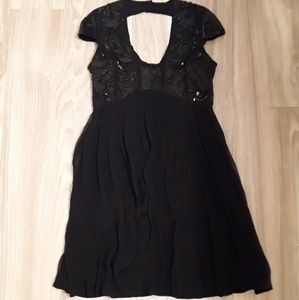 French Connection Sweetheart Black Sequin Dress
